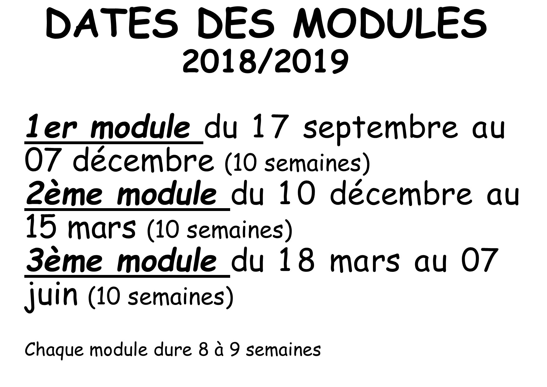 dates des modules 18 19